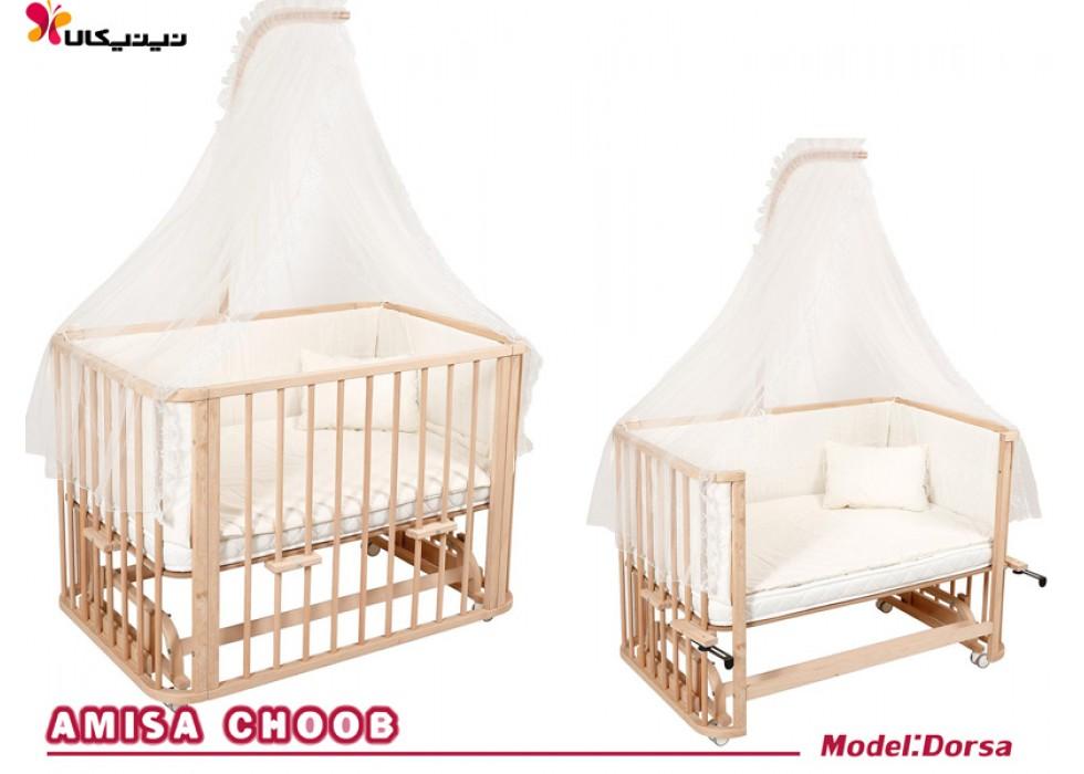 تخت نوزاد کنار مادر آمیسا مدل درسا