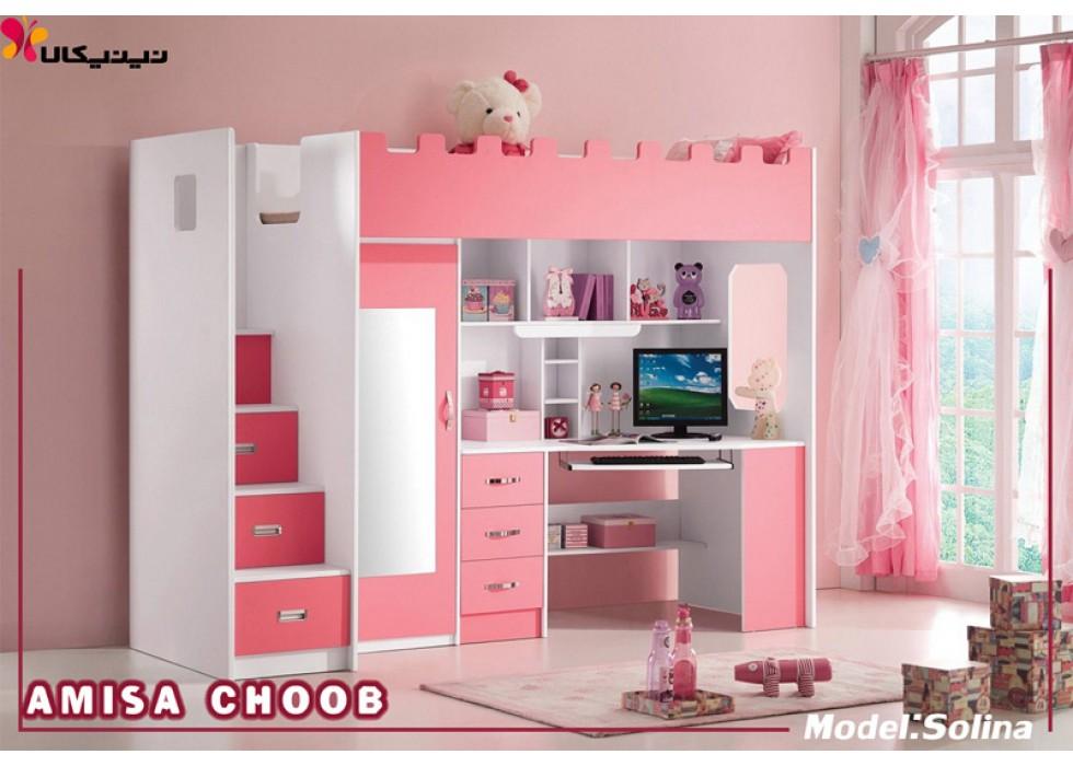 تخت خواب دخترانه دو طبقه کودک و نوجوان آمیسا مدل سولینا