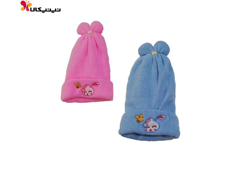 کلاه بافتنی نوزاد مدل پاپیون