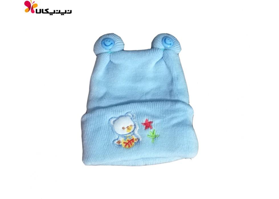 کلاه بافتنی نوزاد مدل دکمه ای