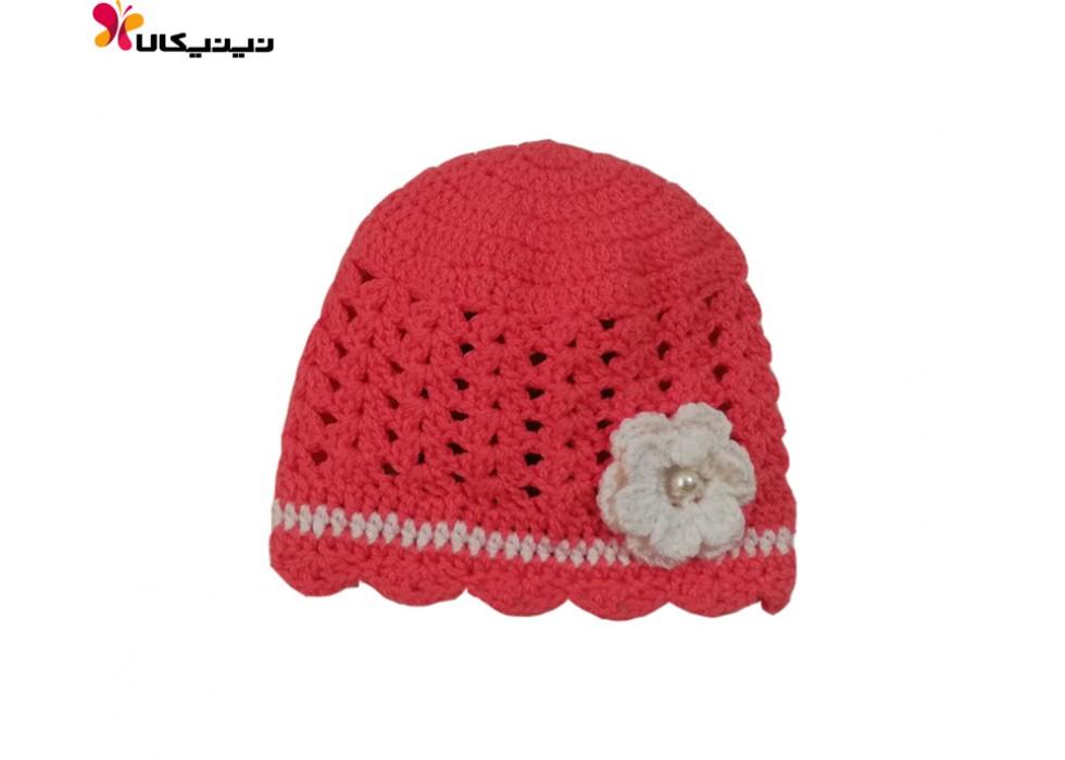 کلاه بافتنی نوزاد دخترانه مدل گل