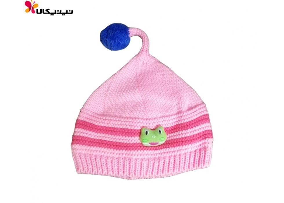 کلاه بافتنی نوزاد دخترانه مدل قورباغه
