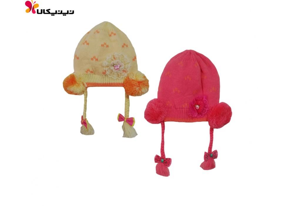 کلاه بافتنی نوزاد منگوله دار