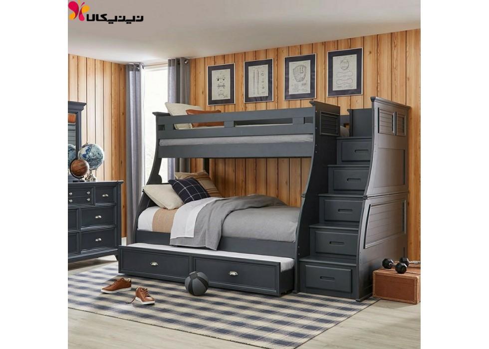 تخت خواب دو طبقه نوجوان و جوان آمیساچوب مدل کلاسیک
