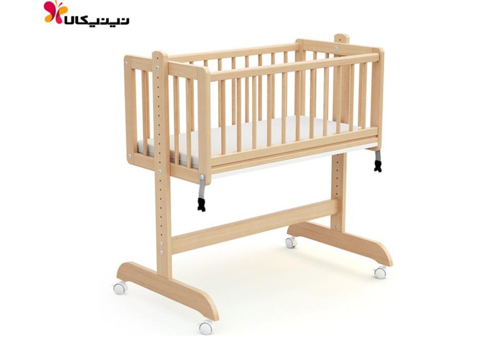 تخت نوزاد کنار مادر چوبی آمیساچوب مدل درنا