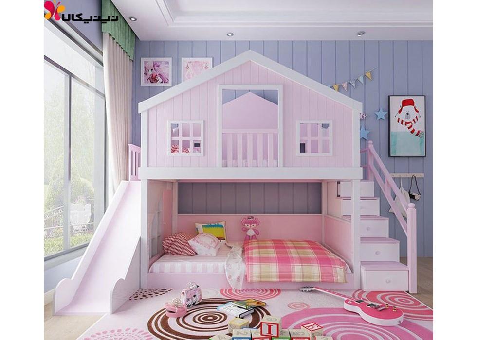 تخت خواب دو طبقه دخترانه کودک و نوجوان آمیساچوب مدل المیرا