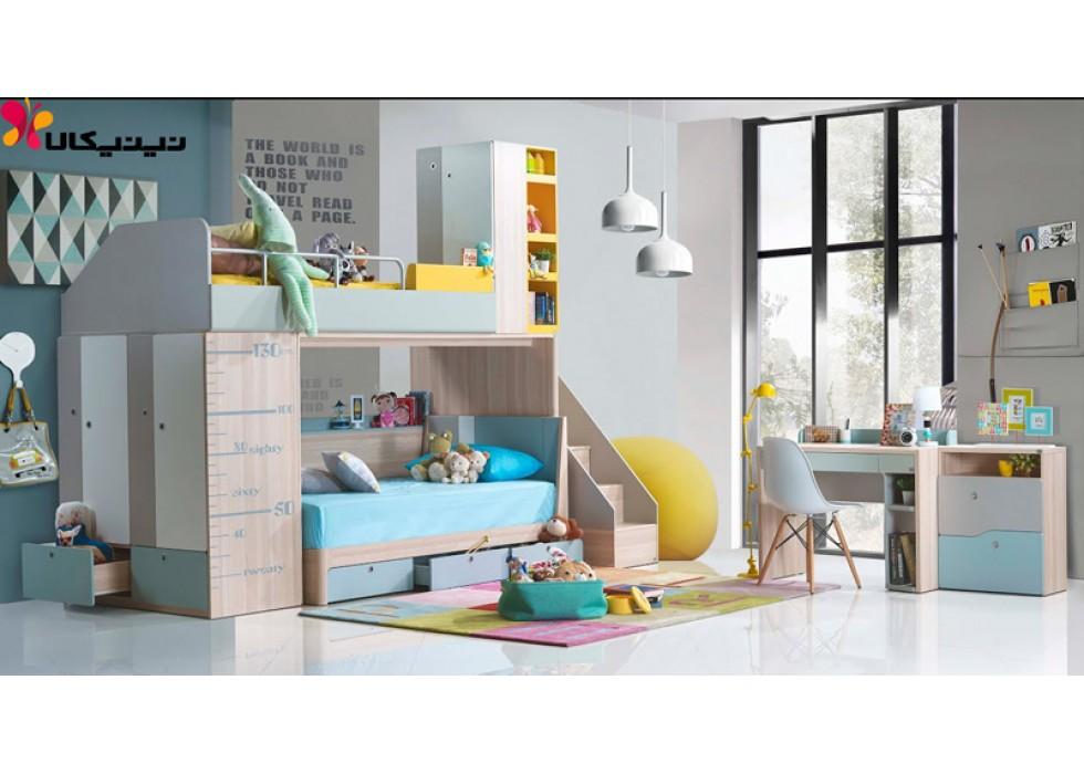 تخت خواب دو طبقه کودک و نوجوان آمیساچوب مدل آرشام