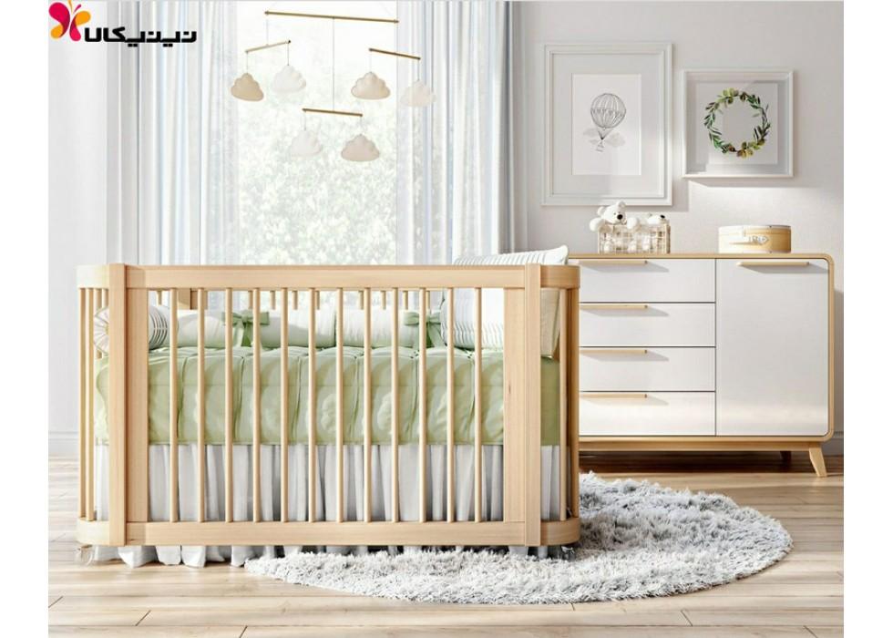 تخت و دراور چوبی نوزاد آمیساچوب مدل ایساتیس