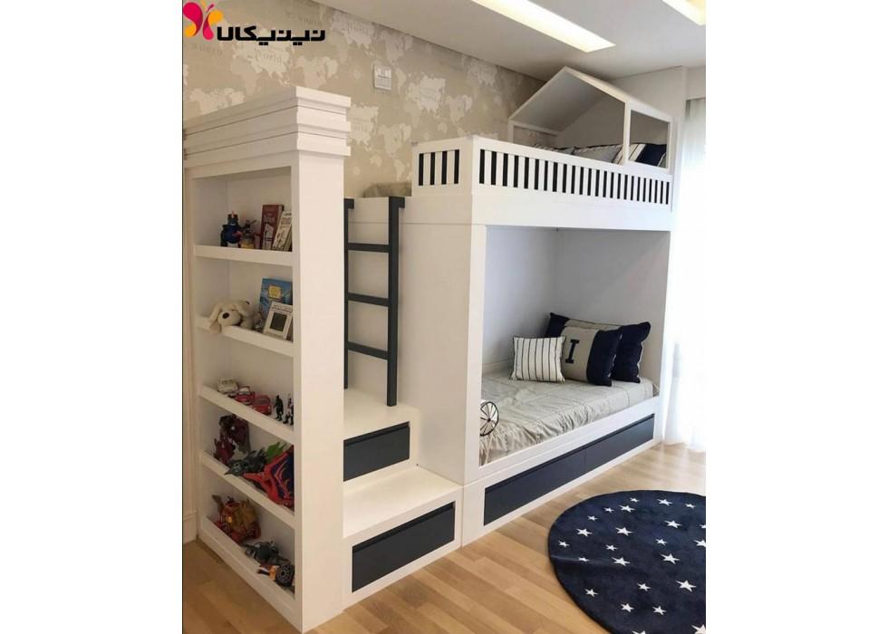 تخت خواب دو طبقه کودک و نوجوان آمیساچوب مدل زانیار