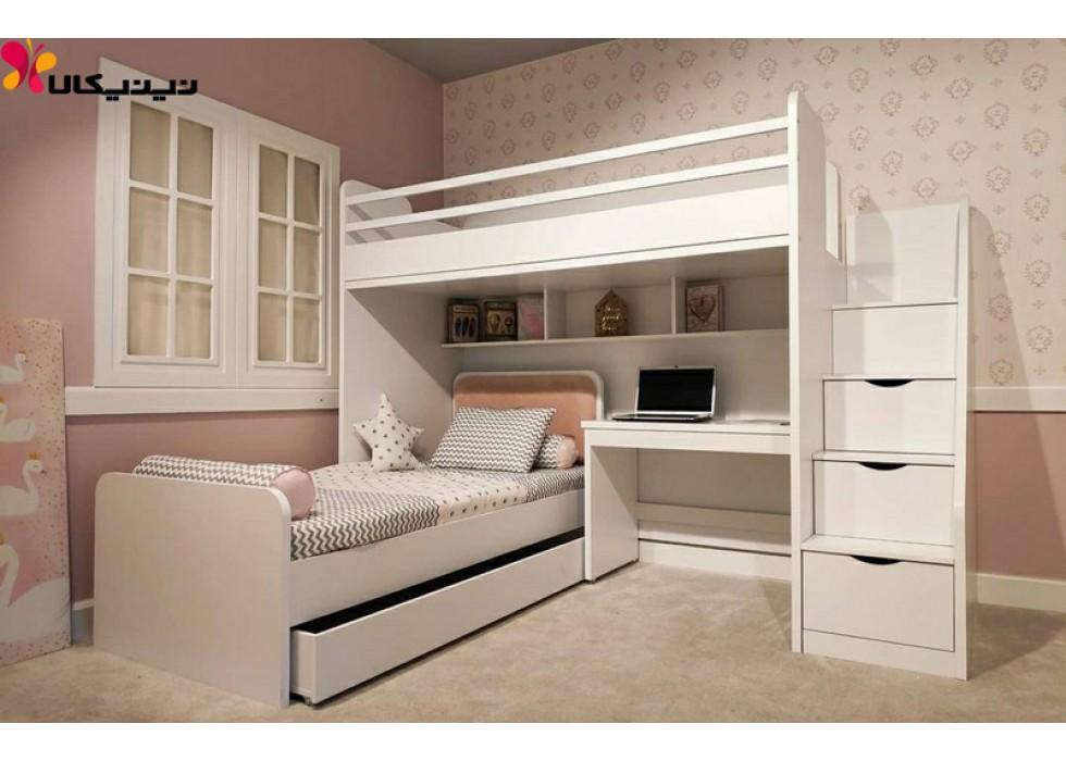 تخت خواب دو طبقه کودک و نوجوان آمیساچوب مدل آکسفورد