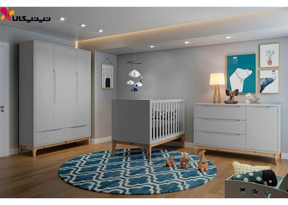 تخت نوزاد با کمد چهار درب و دراور آمیساچوب مدل سلین