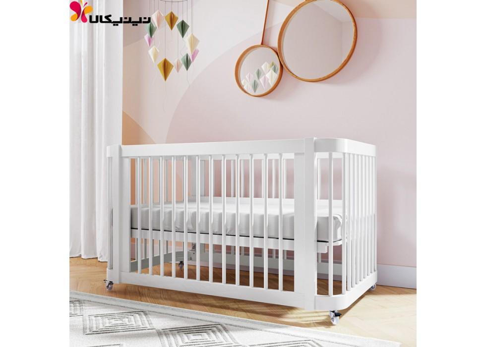 تخت چوبی نوزاد آمیساچوب مدل ایساتیس رنگ سفید