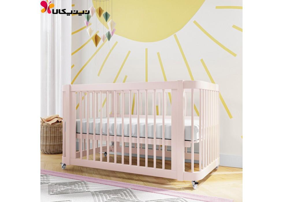 تخت نوزاد چوبی آمیساچوب مدل ایساتیس رنگ صورتی