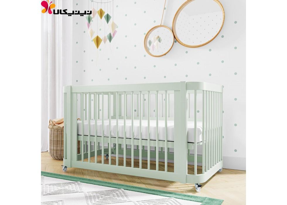 تخت نوزاد چوبی آمیساچوب مدل ایساتیس رنگ سبز
