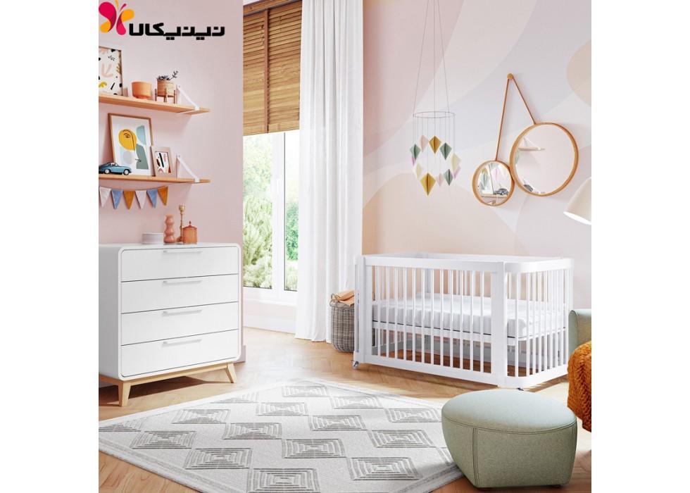 تخت و دراور چوبی نوزاد آمیساچوب مدل ایساتیس رنگ سفید
