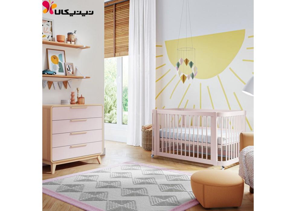 تخت و دراور چوبی نوزاد آمیساچوب مدل ایساتیس رنگ صورتی