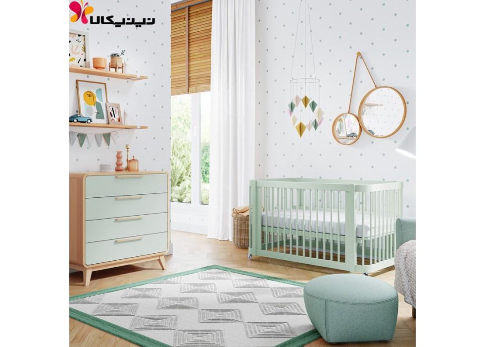 تخت و دراور چوبی نوزاد آمیساچوب مدل ایساتیس رنگ سبز