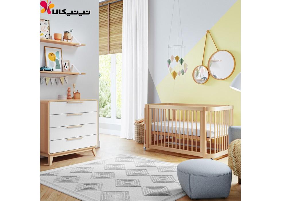 تخت و دراور چوبی نوزاد آمیساچوب مدل ایساتیس رنگ چوب