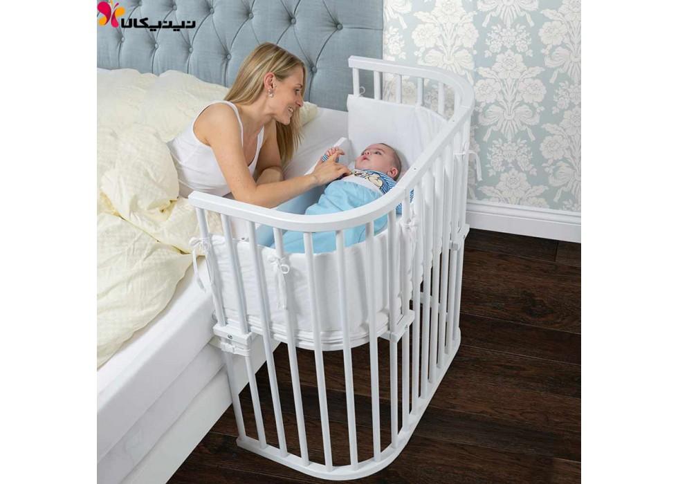 تخت نوزاد کنار مادر آمیساچوب مدل میشا رنگ سفید