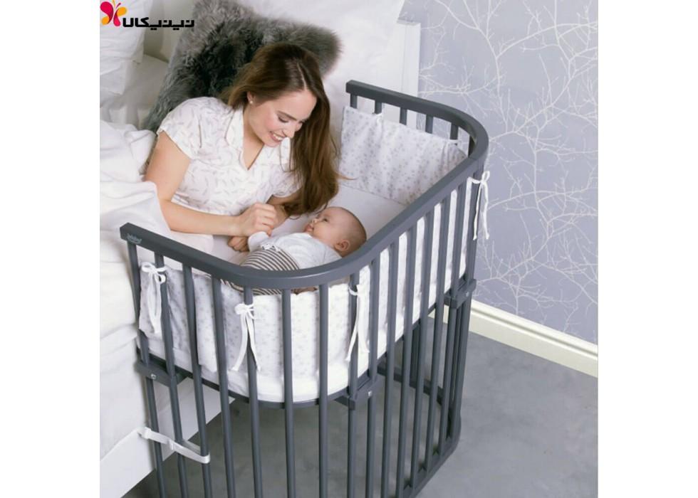 تخت نوزاد کنار مادر آمیساچوب مدل میشا رنگ طوسی