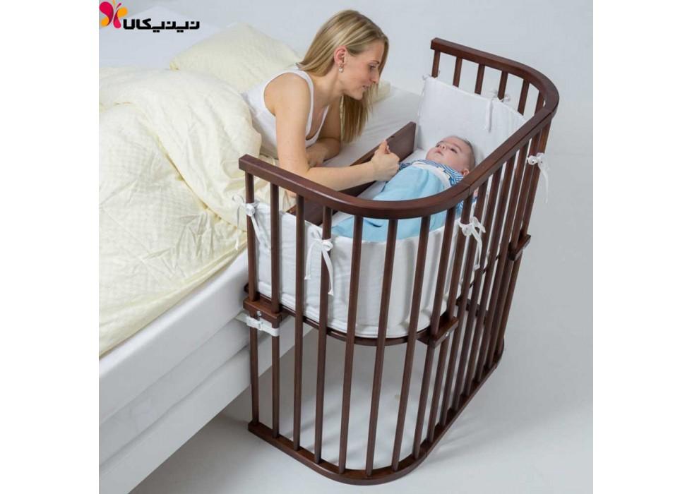 تخت نوزاد کنار مادر آمیساچوب مدل میشا رنگ قهوه ای