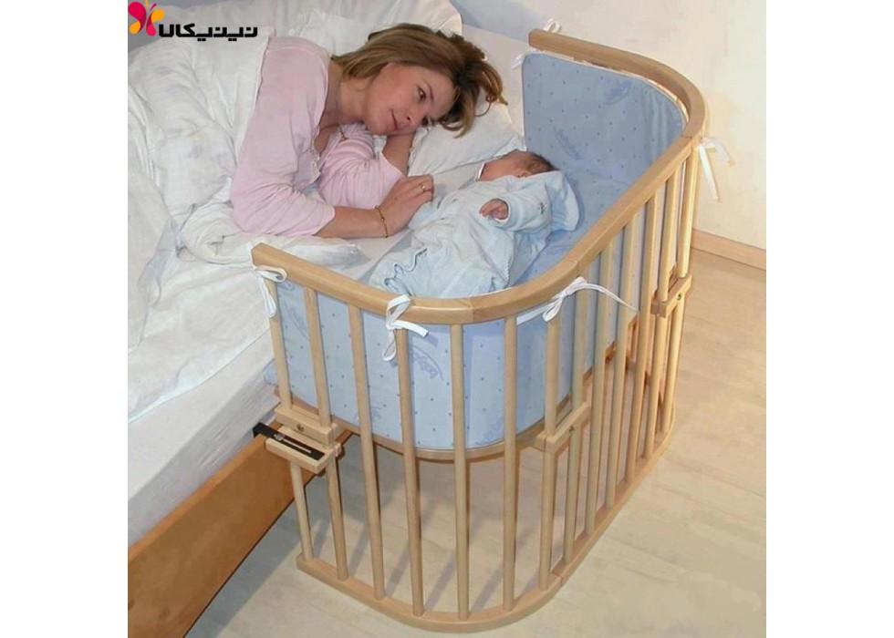 تخت نوزاد کنار مادر آمیساچوب مدل میشا رنگ چوب