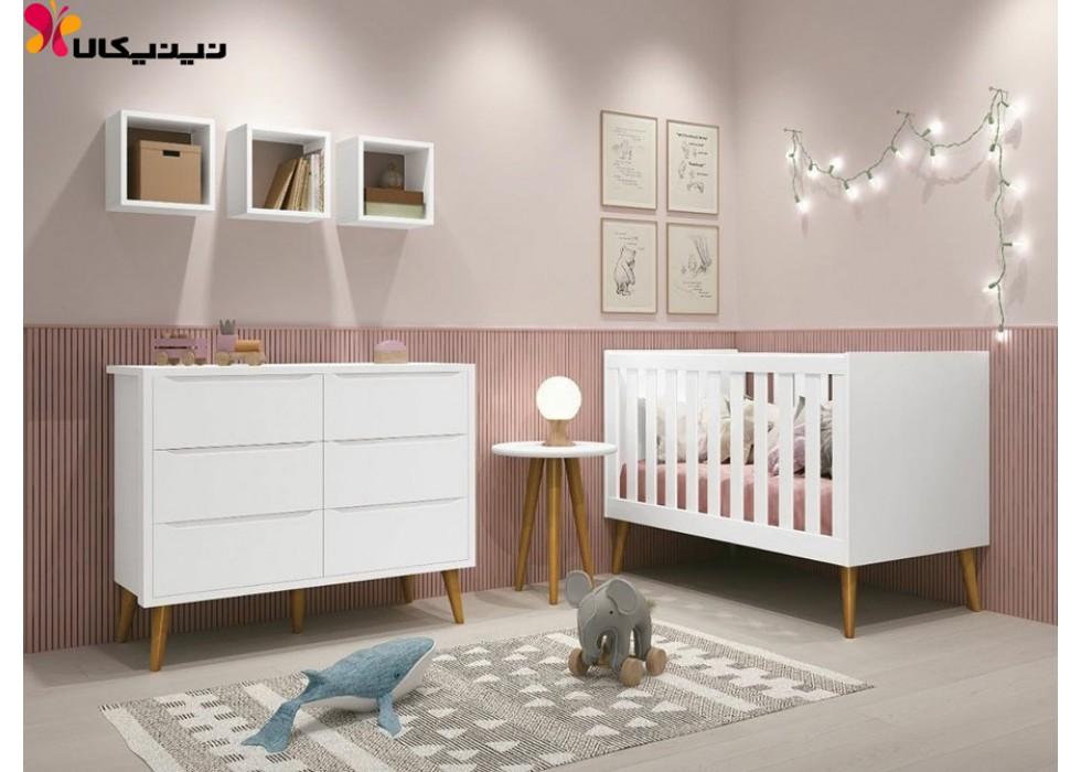 تخت و دراور نوزاد آمیساچوب مدل سلینو