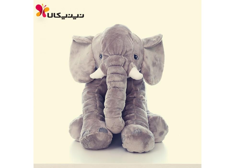 فیل بالشتی بازی و خواب نوزاد سایز بزرگ طوسی