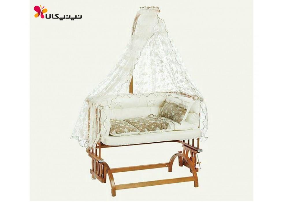 تخت نوزاد کنار مادر بی بی تچ BabyTech کد 102 توری طرح دار