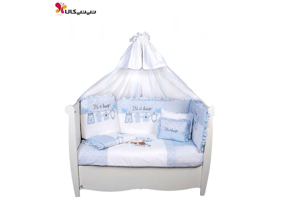 سرویس خواب 9 تیکه نوزاد و نوجوان  بند رخت آبی برند مامی شاپ-momishop