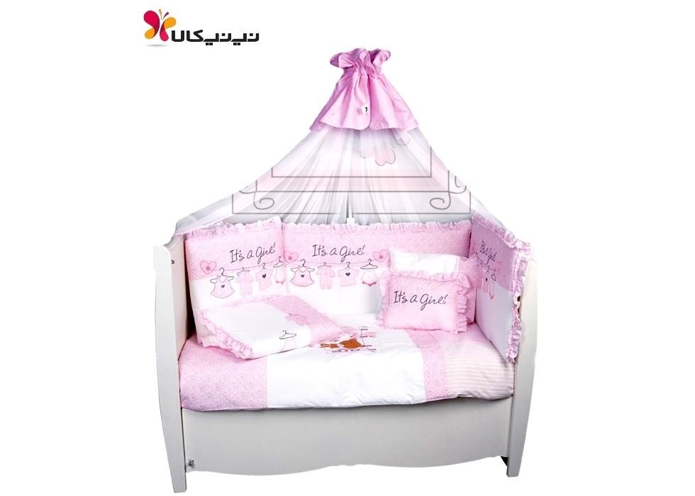 سرویس خواب 9 تیکه نوزاد و نوجوان  بند رخت صورتی برند مام شاپ-momshop