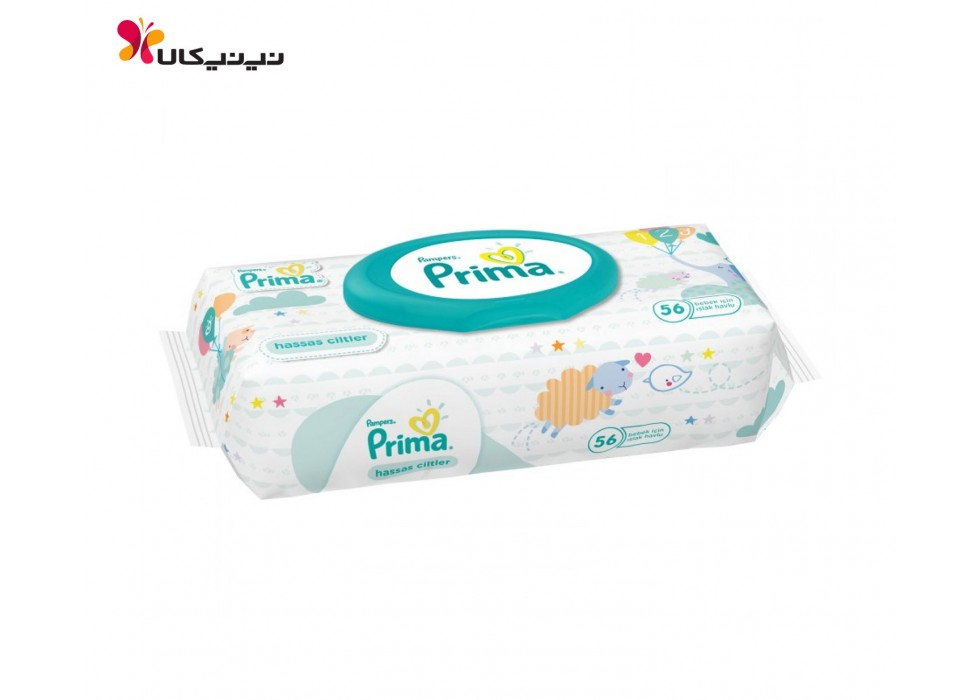 دستمال مرطوب 56 عددی درب دار پریما-Prima