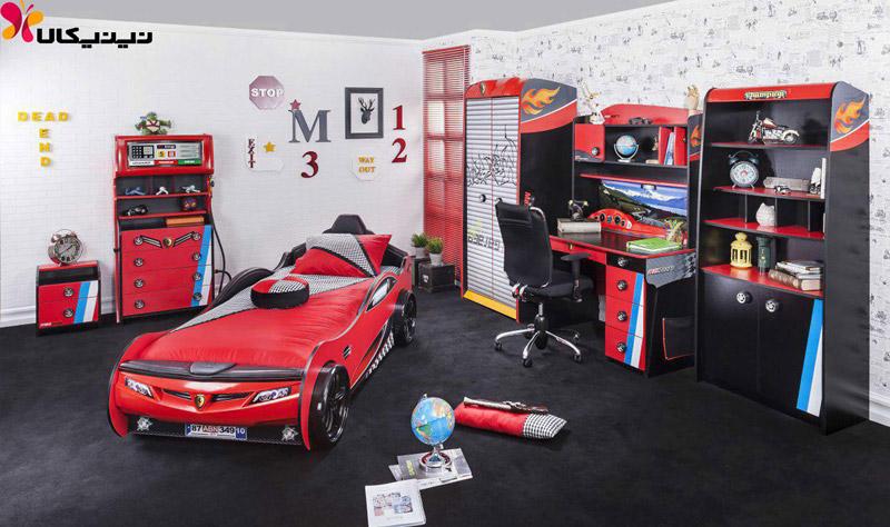 تخت خواب ماشین کودک و نوجوان آپادانا مدل چمپیون